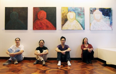 The installation team: Victor, artist Ching Valdes-Aran, Dax Valdes and Angel Velasquez  Shaw at the Phillippine Center in New York on October 20, 2012. Photo by Lia Chang