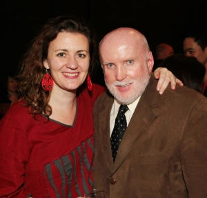 Lisa Rothe and Jack Sharkey, Epic Theatre Ensemble supporter  after the opening performance of Hold These Truths at the Theatre at the 14th Street Y in New York on October 21, 2012. Photo by Lia Chang