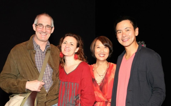 John Eisner, Artistic Director, Lark Play Development Center; Lisa Rothe, Jeanne Sakata and Joel de la Fuente after the opening performance of Hold These Truths at the Theatre at the 14th Street Y in New York on October 21, 2012. Photo by Lia Chang