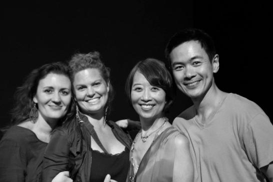 Lisa Rothe, Natalie Martin (Assistant Director on HTT), Jeanne Sakata and Joel de la Fuente. Photo by Lia Chang