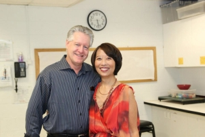 Tim Patterson and his wife playwright/actress Jeanne Sakata. Photo by Lia Chang