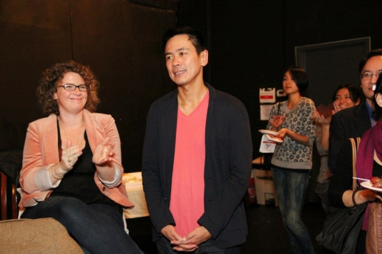 Melissa de la Fuente and Joel de la Fuente after the opening performance of Hold These Truths at the Theatre at the 14th Street Y in New York on October 21, 2012. Photo by Lia Chang
