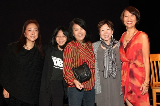 Kaori Eda, Donna Tsufura, Bonnie Wong, Julie Azuma, Jeanne Sakata (all members of JAJA, Japanese Americans/Japanese in America) after the opening performance of Hold These Truths at the Theatre at the 14th Street Y in New York on October 21, 2012. Photo by Lia Chang