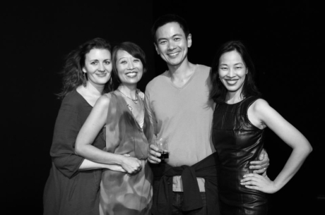 Lisa Rothe, Jeanne Sakata, Joel de la Fuente and Lia Chang after the opening night performance of Hold These Truths at the Theatre at the 14th Street Y in New York on October 21, 2012. Photo by Tim Patterson