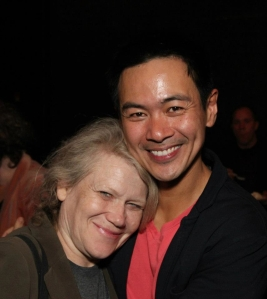Morgan Jenness, Literary Agent, and Joel de la Fuente after the opening performance of Hold These Truths at the Theatre at the 14th Street Y in New York on October 21, 2012. Photo by Lia Chang
