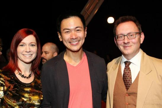 Carrie Preston, Joel de la Fuente and Michael Emerson after the opening performance of Hold These Truths at the Theatre at the 14th Street Y in New York on October 21, 2012. Photo by Lia Chang
