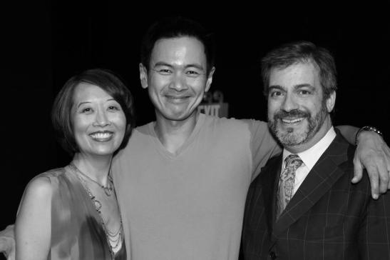 Jeanne Sakata, Joel de la Fuente and Robert Chelimsky  after the opening performance of Hold These Truths at the Theatre at the 14th Street Y in New York on October 21, 2012. Photo by Lia Chang