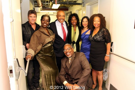 October 18, 2012. Power Players backstage: Jeff Wallner, Phyllis Yvonne Stickney, Roscoe Orman, Pauletta Pearson Washington, Lia Chang, Lorey Hayes and stage manager Sean C. Turner at the Schomburg Center for Research in Black Culture in New York. Photo by Will Chang