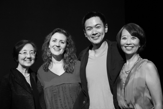 Kathryn Bannai (first lead attorney on Gordon's 1980's battle to overturn his 1940's criminal convictions) Hold These Truths' director Lisa Rothe, star Joel de la Fuente and playwright Jeanne Sakata.  Photo by Lia Chang