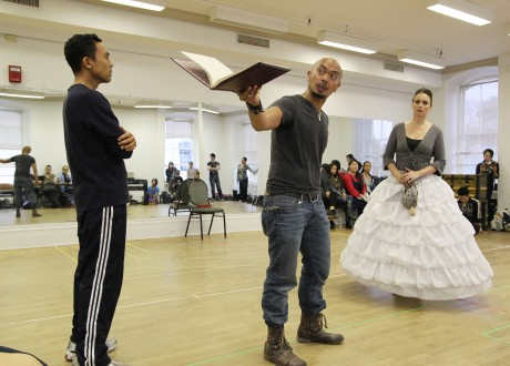 Ron Domingo as The Kralahome, Mel Sagrado Maghuyop as The King and Tamara Jenkins as Anna in rehearsal for the Harbor Lights Theater Company's production of The King and I on October 27, 2012. Photo by Lia Chang