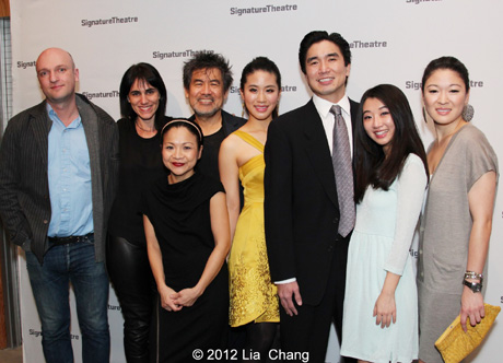 Golden Child opening night with Matthew Maher, director Leigh Silverman, Julyana Soelistyo, playwright David Henry Hwang, Lesley Hu, Greg Watanabe, Annie Q. and Jennifer Lim at the Pershing Square Signature Center in New York on November 13, 2012.  Photo by Lia Chang