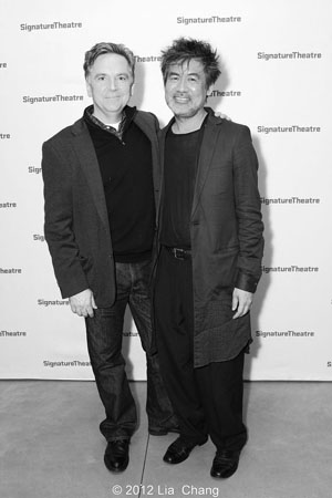 Founding artistic director James Houghton and playwright David Henry Hwang celebrate after the opening night performance of Golden Child at the Pershing Square Signature Center in New York on November 13, 2012.  Photo by Lia Chang
