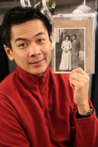 In the dressing room with Joel de la Fuente, who stars as Gordon Hirabayashi in Jeanne Sakata's Hold These Truths at The Theatre at the 14th Street Y in New York on November 24, 2012. Joel is holding a photo of Esther Schmoe and Gordon Hirabayashi on their wedding day. Photo by Lia Chang