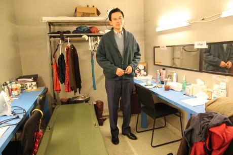 In the dressing room with Joel de la Fuente, who stars as Gordon Hirabayashi in Jeanne Sakata's Hold These Truths at The Theatre at the 14th Street Y in New York through November 25, 2012. Photo by Lia Chang