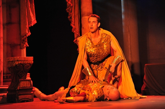 Michael Raimondi as Cornelius Scipio, kneels over his dead father Dennis Jordon as Publius Scipio in Lorey Hayes' Massinissa and The Tragedy of the House of Thunder. Photo by Hubert Williams