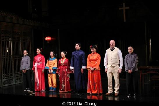 The cast of David Henry Hwang's Golden Child at their opening night curtain call in The Alice Griffin Jewel Box Theatre at The Pershing Square Signature Center in New York on November 13, 2012. Photo by Lia Chang