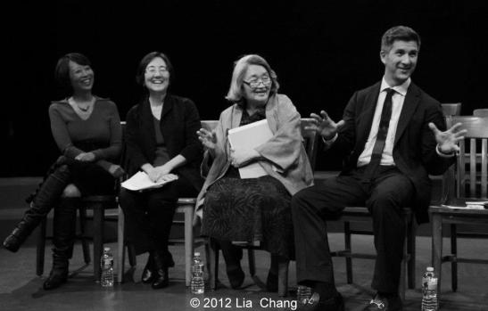 Panelists Jeanne Sakata, Kathryn Bannai, Suki Ports and Greg Kimura during a post-show discussion at The Theatre at the 14th Street Y in New York on November 12, 2012. Photo by Lia Chang