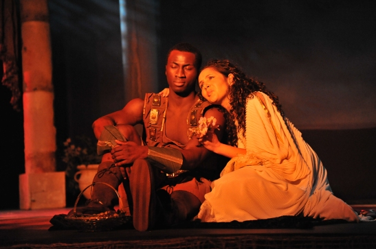 Dayo Olatokun as Massinissa and Anja Lee  as Sophonisba Barca in Lorey Hayes'  Massinissa and The Tragedy of the House of Thunder. Photo by Hubert Williams