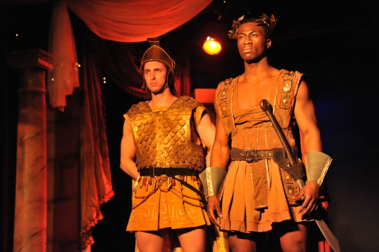 Michael Raimondi as Cornelius Scipio and Dayo Olatokun as Massinssa in Lorey Hayes' Massinissa and The Tragedy of the House of Thunder. Photo by Hubert Williams