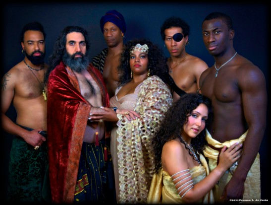 Lorey Hayes' Massinissa and The Tragedy of the House of Thunder  Pre- Production photo. From left to right: Tino Christopher (Hasdrubal), Elijah Black (Hamilcar Barca), Lawrence Winslow (Tyre Barca), Debra Ann Byrd (Dido Barca), Lodric Collins (Hannibal Barca), Dayo Olatokun (Massinissa) and kneeling Anja Lee (Sophonisba Barca) - the woman whose love changed the color of power of the world. Debra Ann Byrd originated the role of Dido Barca, Diane Dixon later appeared in the production. Photo credit: Carmen de Jesus