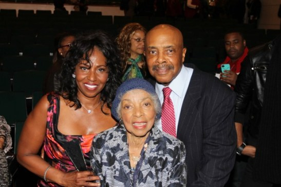 Pauletta Pearson Washington, Ruby Dee and Roscoe Orman at the Schomberg in New York in October, 2012, after a reading of Lorey Hayes' Power Play. Photo by Lia Chang