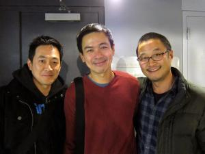 Paul Juhn, Joel de la Fuente and Steve Park after a performance of Hold These Truths at the Theatre at the 14th Street Y in New York on November 19, 2012. Photo by Lia Chang