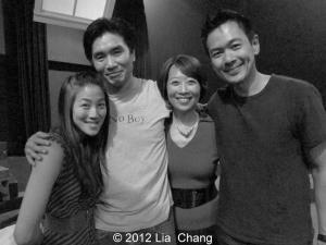 Traci Kato-Kiriyama, Golden Child's Greg Watanabe, Jeanne Sakata and Joel de la Fuente after a performance of Hold These Truths at the Theatre at the 14th Street Y in New York on November 12, 2012. Photo by Lia Chang