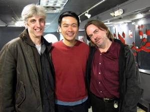 Zak Berkman, Joel de la Fuente and Ron Russell after a performance of Hold These Truths at the Theatre at the 14th Street Y in New York on November 19, 2012. Photo by Lia Chang