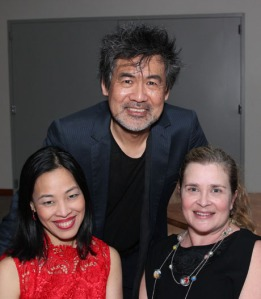 Lia Chang, playwright David Henry Hwang and his wife Kathryn Layng at the opening night party for Signature's revival of Golden Child at The Pershing Square Signature Center in New York on November 13, 2012. Photo by Grace Hwang
