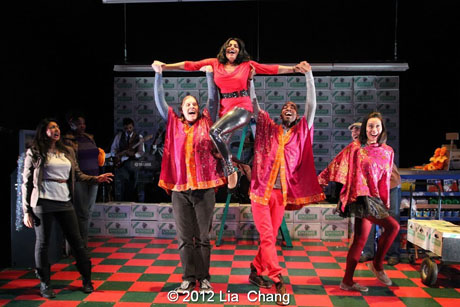 """Internationally Acclaimed singer Falu (center) shares her breathtaking voice and dance moves with the Angel Crew (left to right: Lipica Shah as Sunita, Matthew Knowland, Kiarri Andrews & Brooke Ishibashi) in the show stopper song """"Ajaa Ajaa"""" from LAUGHistan's World Premiere of """"BUMBUG The Musical"""". Photo Credit: Lia Chang"""