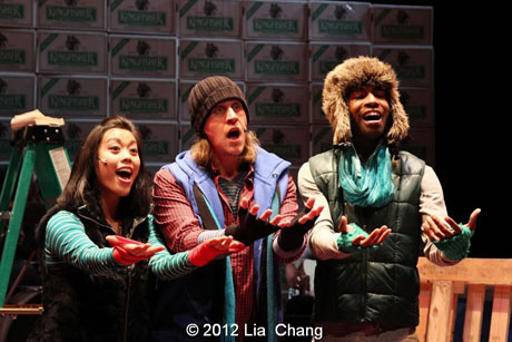 """The Angel Crew (left to right: Brooke Ishibashi, Matthew Knowland & Kiarri Andrews) from LAUGHistan's World Premiere of """"BUMBUG The Musical"""". Photo Credit: Lia Chang"""