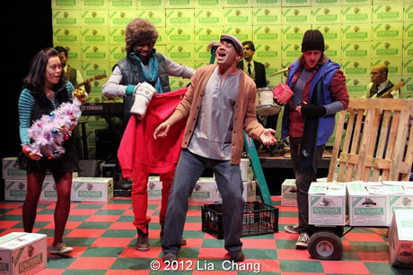"""Andrew Ramcharan Guilarte as """"Scroogewala"""" (center) with the Angel Crew (left to right: Brooke Ishibashi, Kiarri Andrews & Matthew Knowland) from LAUGHistan's World Premiere of """"BUMBUG The Musical"""". Photo Credit: Lia Chang"""