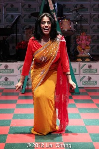 "Internationally Acclaimed singer Falu in LAUGHistan's World Premiere of ""BUMBUG The Musical"". Photo Credit: Lia Chang"