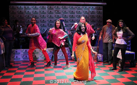 "Internationally Acclaimed singer Falu (center) shares her breathtaking voice and dance moves with the Angel Crew (left to right: Kiarri Andrews, Brooke Ishibashi & Matthew Knowland) and Lipica Shah as ""Sunita"", in the show stopper song ""Ajaa Ajaa"" from LAUGHistan's World Premiere of ""BUMBUG The Musical"". Photo Credit: Lia Chang"