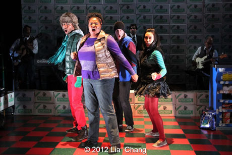 "Adrienne C. Moore (center) as ""Angel"" and The Angel Crew (left to right: Matthew Knowland, Kiarri Andrews and Brooke Ishibashi) from LAUGHistan's World Premiere of ""BUMBUG The Musical"". Photo Credit: Lia Chang"