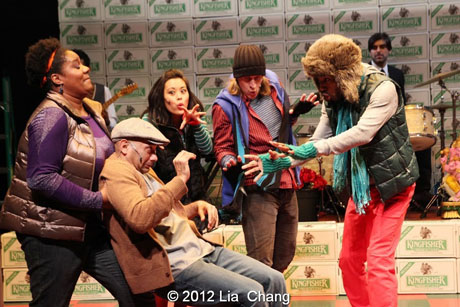"""Adrienne C. Moore as """"Angel"""", Andrew Ramcharan Guilarte as """"Scroogewala"""" with the Angel Crew (left to right: Brooke Ishibashi, Matthew Knowland & Kiarri Andrews) from LAUGHistan's World Premiere of """"BUMBUG The Musical"""". Photo Credit: Lia Chang"""