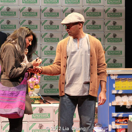 """Lipica Shah as """"Sunita"""" and Andrew Ramcharan Guilarte as """"Scroogewala"""" from LAUGHistan's World Premiere of """"BUMBUG The Musical"""". Photo Credit: Lia Chang"""