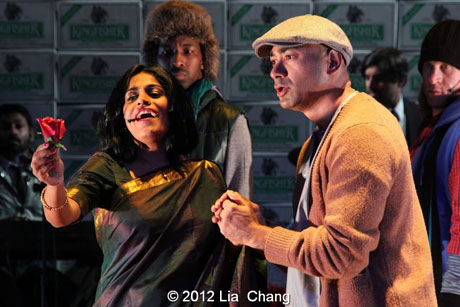 "Falu as ""Mrs. Scroogewala"" and Andrew Ramcharan Guilarte as ""Scroogewala"" from LAUGHistan's World Premiere of ""BUMBUG The Musical"". Photo Credit: Lia Chang"