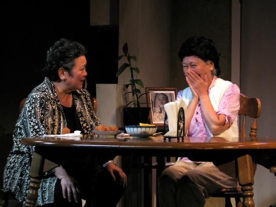 Karen Yamamoto Hackler and Dian Kobayashi in Daniel Akiyama's A Cage of Fireflies.                  Photo credit: Sammie Choy