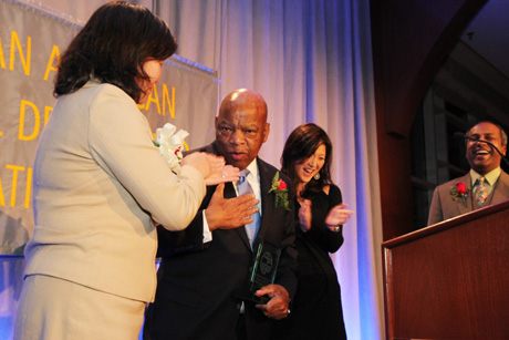 Rep. Grace Meng, Rep. John Lewis, Juju Chang and Sree Sreenivasan. Photo by Lia Chang