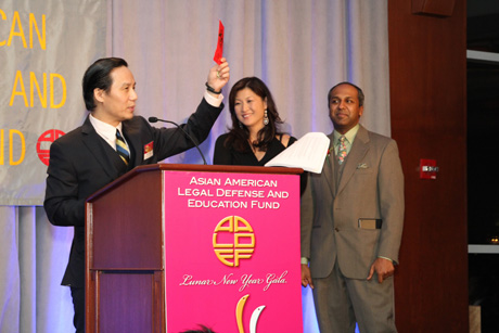 The surprise appearance of BD Wong on stage, asking the guests to support AALDEF in the Year of the Snake, with Juju Chang and Sree Sreenivasan! Photo by Lia Chang