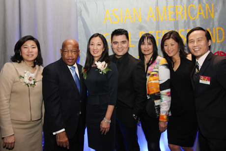 Rep. Grace Meng, JIA 2013 honorees Rep. John Lewis, Simone Wu, Jose Antonio Vargas, AALDEF executive director Margaret Fung, co-emcee Juju Chang and BD Wong. Photo by Lia Chang