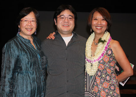 Phyllis Look and Daniel Akiyama, director and playwright of A CAGE OF FIREFLIES at Honolulu's Kumu Kahua Theatre, with Jeanne Sakata.