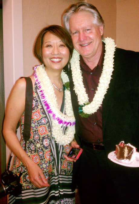 Playwright Jeanne Sakata with her husband and birthday boy, Tim Patterson. Photo by Phyllis Look