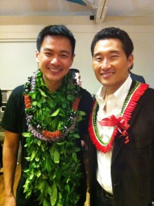 Joel de la Fuente and Daniel Dae Kim celebrate the opening night performance of Jeanne Sakata's Hold These Truths the Honolulu Theatre for Youth's Tenney Theatre on February 21, 2013. Photo by Jeanne Sakata
