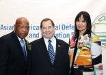 2013 Justice in Action Award honoree Congressman John Lewis, Member of the U.S. House of Representatives (Georgia), Congressman Jerrold Nadler of New York and AALDEF executive director Margaret Fung at the Asian American Legal Defense and Education Fund's lunar new year gala at Pier Sixty at Chelsea Piers in New York on February 20, 2013. Photo by Lia Chang