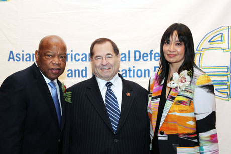 Justice in Action Award honoree Congressman John Lewis, Member of the U.S. House of Representatives (Georgia), Congressman Jerrold Nadler of New York and AALDEF executive director Margaret Fung. Photo by Lia Chang