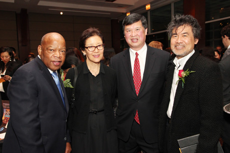 Justice in Action Award honoree Congressman John Lewis, Member of the U.S. House of Representatives (Georgia), Judge Kiyo Matsumoto, Judge Denny Chin and and Presenter David Henry Hwang. Photo by Lia Chang
