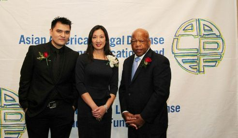 2013 AALDEF Justice in Action honorees Jose Antonio Vargas, Simone Wu and Congressman John Lewis. Photo by Lia Chang