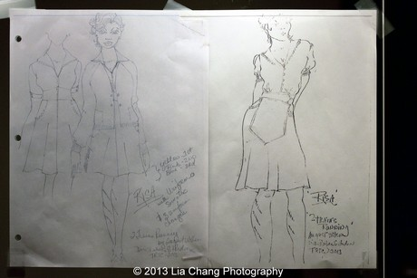 'Risa' costume design sketches by Karen Perry. Photo by Lia Chang